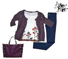 saquito manga 3/4 + leggin + remeron con flores hippies