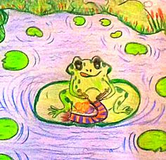 There once was a frog whose name was Fred, he hopped around and bounced on his bed.  He hopped to the pond and went for a swim, he called for his friends and they all joined in.  He hop…