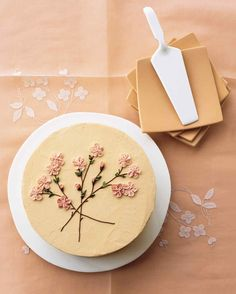 cake with cherry blossom icing detail