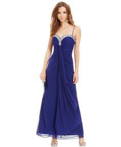 Onyx Sleeveless Jewel-Trim Ruched Gown - Dresses - Women - Macy's