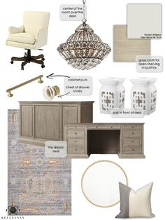 one-room-challenge-mood-board-home-office-makeover-restoration-hardware desk and crystal chandelier-design-board