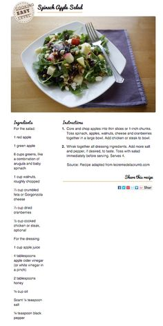 Recipe: Spinach Apple Salad, perfect for fall!