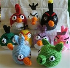 Angry Birds Set of 9 Hand Crocheted Angry Birds Plush toys - Cute!