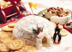 Cheese Ball Igloo by Betty Crocker: Cute with Olive Penguins! pinterest.com/... thanks to @Cathy Welch : )  #Igloo #Cheese_Ball_Igloo #bettycrocker