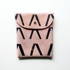 POUCH // pink suede with black V print by BlackbirdAndTheOwl. $28.00 USD, via Etsy.