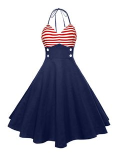 $14.26  Halter American Flag Buttoned Vintage Dress - RED 2XL