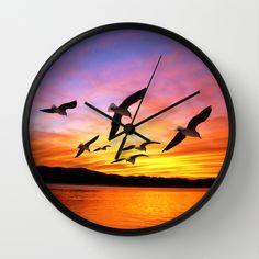 Seagull Sunset Wall Clock  #Gravityx9 | #Society6 #WallClock #HomeDecor -