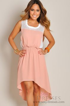 f12d0162b27 Sleeveless Peach Pink High Low Maxi Dress