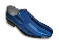 These Royal Blue Bolano Footwear men's striped satin dress shoes come with rounded square toe with silver tip. The lace up dress shoe includes seam details as well as a cushioned inside for extra comfort and a hard sole.