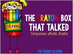 "Updated: 1/7/2015 Included in this freebie are writing sheets/prompts to be used with the book and/or poem ""The Crayon Box That Talked.""    {The poem, ""The Crayon Box That Talked"" is included as a poster, however, I am not claiming I wrote it:)  I looked for an author, but was unable to locate the first creator.}  I also included two posters with the quote, ""Friendship has no color."""