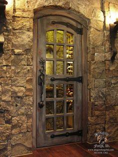Custom-made wine cellar doors Dragon Forge - Colorado Blacksmith Cool Doors, The Doors, Entrance Doors, Windows And Doors, Front Doors, Bay Windows, Door Entry, Entrance Ideas, Panel Doors