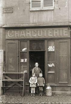 Photo ancien commerce Toulouse Boucherie Charcuterie Viande tirage repro 1920