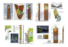 Various early signage concept development ...