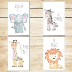 Safari Nursery Decor, Nursery Wall Art, Baby Animal Prints, Jungle Animals, 8x10 Wall Decor, Kids Room Elephant Giraffe Zebra Lion Set of 4