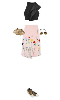 """How to Style a Pink Floral Skirt with a Black Crop Top"" by outfitsfortravel ❤ liked on Polyvore featuring C/MEO COLLECTIVE, VIVETTA, Alexander McQueen, adidas, Ray-Ban and Vita Fede"