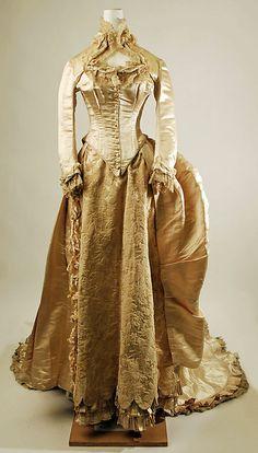 Wedding dress Date: 1884 Culture: American Medium: silk, cotton Front