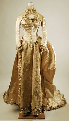 Wedding dress Date: 1884 Culture: American Medium: silk, cotton Front