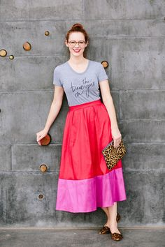 simple t with a glam skirt