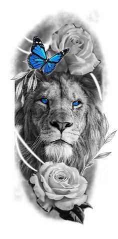 Tiger Tattoo Sleeve, Half Sleeve Tattoos Drawings, Half Sleeve Tattoos Designs, Leg Tattoo Men, Lion Tattoo Design, Lion Design, Lion Tattoo With Flowers, Flower Tattoos, Lion Head Drawing