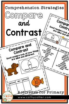Comprehension Strategy Compare and Contrast Comprehension Strategies, Reading Comprehension, Good Readers, Reading Centers, Compare And Contrast, Writing Ideas, Anchor Charts, I Am Awesome, Encouragement