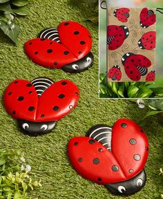 Create an adorable scene in your yard with this Ladybug Garden Decor. Place the Ladybug Crossing Sign x including the ground st Ladybug Garden, Garden Bugs, Ladybug Tutu, Garden Crafts, Garden Art, Garden Stepping Stones, Outdoor Flowers, Lakeside Collection, Garden Show