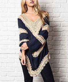 Navy Crochet Color Block Tunic #zulily #zulilyfinds