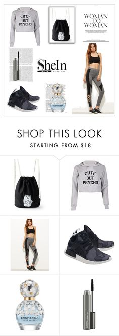 """""""Leg Day"""" by tainted-scars ❤ liked on Polyvore featuring adidas Originals, Balmain, Marc Jacobs and MAC Cosmetics"""