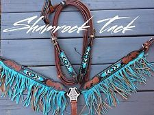 NEW Turquoise Beaded Fringe Tack Set Headstall Breast Collar Reins Western Horse