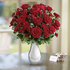 Teleflora's True Romance Bouquet with Red Roses Vase Arrangement