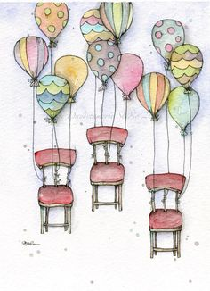 Hot Chair Balloons Watercolor & Pencil #thedaydreamerie