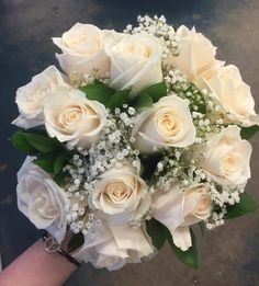 A style using gypsophilia, ruscus, and roses. Lilac Wedding Flowers, Cascading Wedding Bouquets, Bride Bouquets, Flower Bouquet Wedding, Floral Wedding, Rose And Lily Bouquet, Orchid Bouquet, Bridesmaid Bouquet White, Wedding Reception Tables