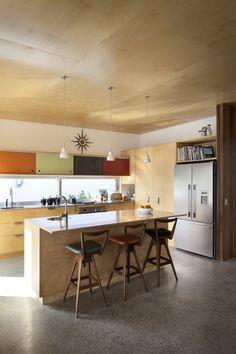 Mid-Century Modern Kitchen - Brown Vujcich House by Bossley Architects