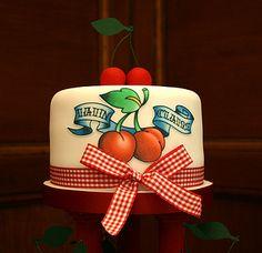 <3 Cherry Gingham Tattoo Cupcake Top Tier