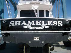 #TRANSOM: Shameless, Montauk #Boat #Transom #BoatTransom  TRANSOM #TECHNIQUE: #GoldLeaf   #BOAT #BUILDER #BoatBuilder: #VikingYachts, #NewGretna, #NewJersey