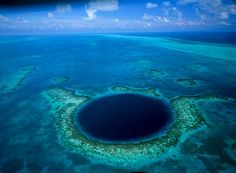 If you ever pass by the coast of Belize, you should not miss the opportunity to visit The Great Blue Hole which is one of the world's natural wonders. It is located about 95 kilometers from the city of Belize. It is believed that this is the deepest hole in the sea. It is about 125 meters deep, and it has a diameter of approximately 300 meters. It was created because of a rise in the sea level which happened about 65,000 years ago.