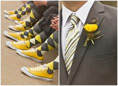 I thought this was playful and cute but still nice wedding attire. Not quite for my wedding but cute! A couple of my photos were featured on Rustic Wedding Chic! I was working with Sublett Studios. Yellow Wedding Shoes, Yellow Grey Weddings, Gray Weddings, Wedding Colors, Wedding Tennis Shoes, Converse Wedding Shoes, Romantic Weddings, Converse Shoes, Farm Wedding