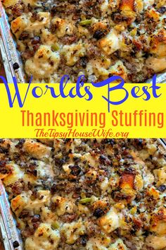World's Best Thanksgiving Stuffing World's Best Thanksgiving Stuffing,Best Of The Tipsy Housewife Meet your new holiday tradition. This is the World's Best Thanksgiving Stuffing. Savory sausage, celery, onions and mushrooms. Easy and delicious. Stuffing Recipes For Thanksgiving, Thanksgiving Sides, Thanksgiving Appetizers, Holiday Recipes, Holiday Appetizers, Christmas Desserts, Traditional Stuffing Recipe, Best Stuffing, Stuffing With Sausage