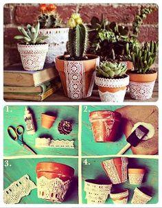vasos de cerâmica repaginados