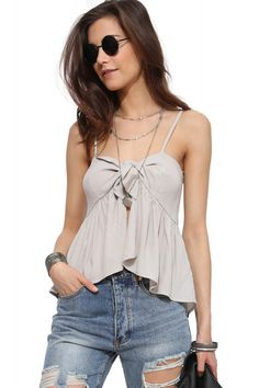 Light Gray Knotted Accent Ruched Hem Chiffon Camisole #Light #Camisole #maykool