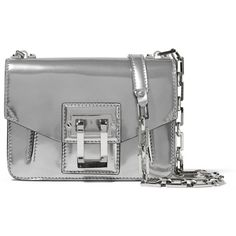 Proenza Schouler Hava mirrored-leather shoulder bag (1,525 CAD) ❤ liked on Polyvore featuring bags, handbags, shoulder bags, silver, shoulder handbags, shoulder hand bags, cell phone shoulder bag, chain shoulder bag and cellphone purse