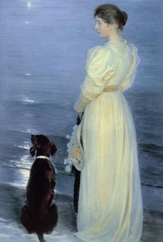 1892 Peder Severin Kroyer ~ Summer Evening at Skagen, (The Artist's Wife with a Dog on the Beach)
