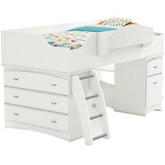 South Shore Loft Bed, Imagine Collection, Pure White// A dresser can be stored underneath