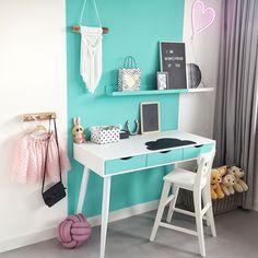 Black Walls, Old Wood, Concrete Floors, Office Desk, Corner Desk, Flooring, Bedroom, Interior, Furniture