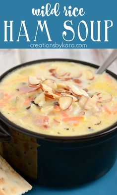 This Wild Rice Ham Soup comes together in minutes, and it is such a delicious soup recipe! The whole family loves it! #hamsoup #wildricesoup #wildricehamsoup -from Creations by Kara Best Thanksgiving Side Dishes, Easy Thanksgiving Recipes, Easy Dinner Recipes, Best Soup Recipes, Ham Recipes, Grilling Recipes, Favorite Recipes, Easy Soups To Make, Ham Soup