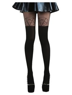 It's the witching hour, but it's chilly outside... You need some witch bitch tights! These over the knee pentagram detail black tights will not only up your outfit game but may also improve your dark magic skills (but we make no promises there...)