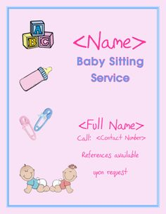 1000 images about baby sitting ideas on pinterest for Babysitting poster template