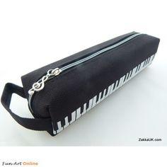 FunMusic: Black and White Keyboard Piano Design Pencil Cases Zipper & Hand Strap Iwako Kawaii Erasers
