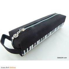 FunMusic: Black and White Keyboard Piano Design Pencil Cases Zipper & Hand Strap Iwako Kawaii Erasers