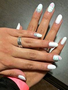 Ally Brooke's pretty glitter heart and stripes mani