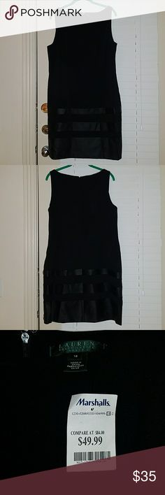 NWT - Ralph Lauren Black Dress Perfect little black dress for a night out. Leather panels on the bottom half. NWT. Comes from smoke free and pet free home. Lauren Ralph Lauren Dresses